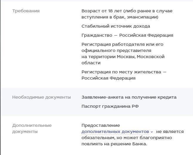 Банк москвы кредит документы