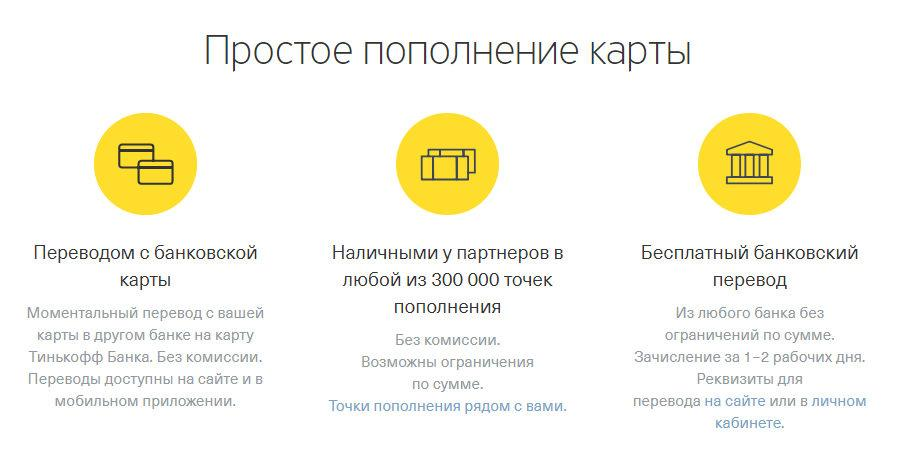 Пополнение кредитки Тинькофф